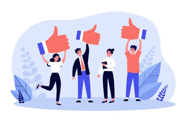 ilustrações, clipart, desenhos animados e ícones de clientes felizes dando feedback positivo à qualidade do produto - feedback
