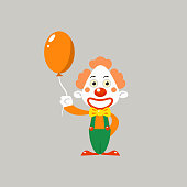 Happy Clown Holding Balloon