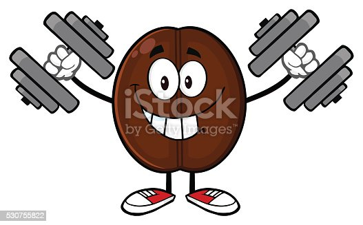 Happy Coffee Bean Holding Dumbbells Stock Vector Art More Images Of Cartoon 530755822