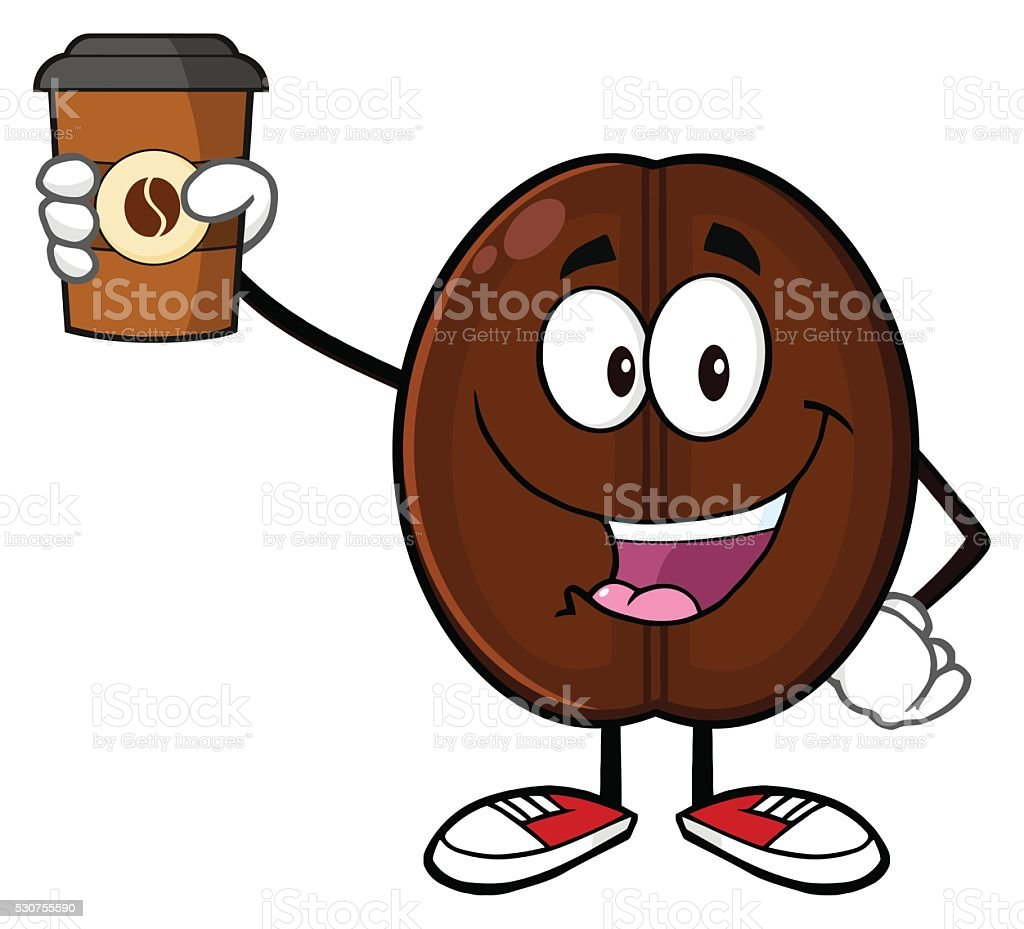 Happy Coffee Bean Holding Up A Cup Of Royalty Free
