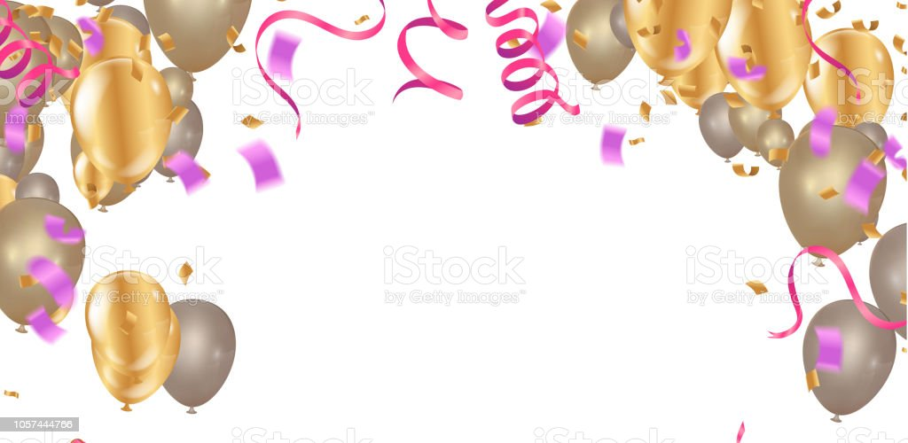 Happy Color Background Birthday Holiday Banner With Colorful Balloons Win Party