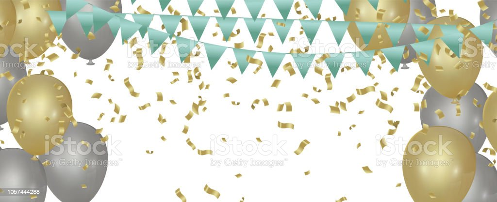 Happy Color Background With Glossy Balloon Party