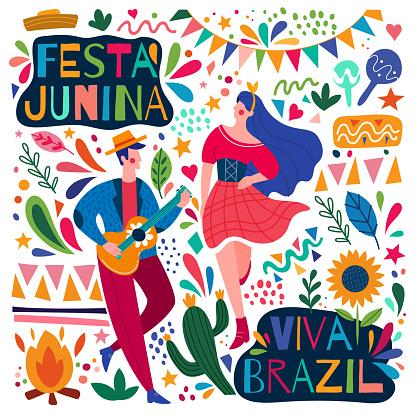 Happy colorful Festa Junina Viva Brazil poster