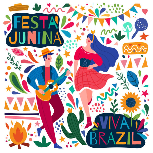 Happy colorful Festa Junina Viva Brazil poster Happy colorful Festa Junina Viva Brazil poster design with a young man playing guitar and woman dancing surrounded by colorful icons, colored vector illustration tradition stock illustrations