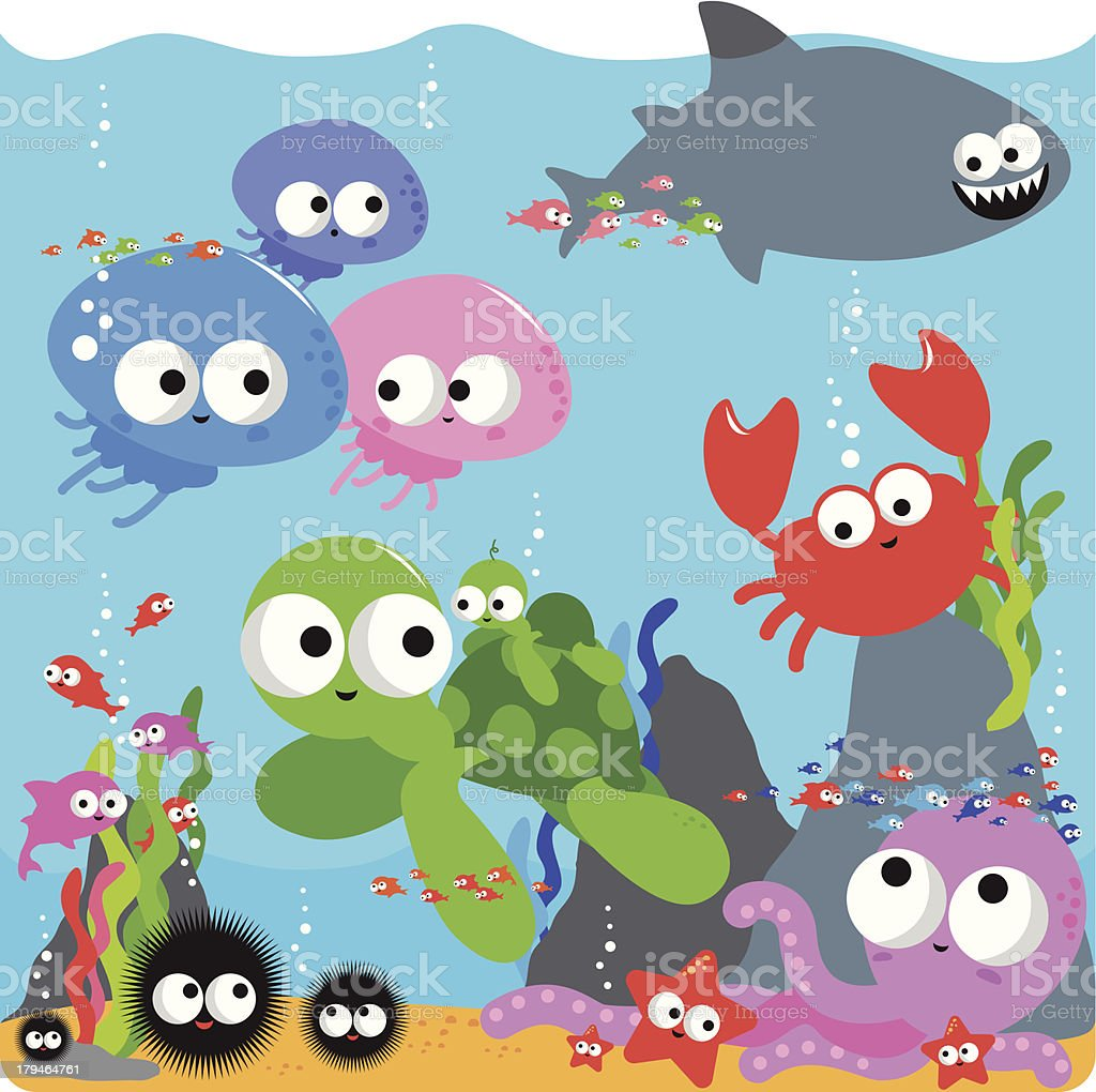 Happy colourful sea animals royalty-free stock vector art