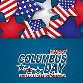 Happy Columbus Day background with stars in American flag colors. USA national holiday design template. Vector illustration.