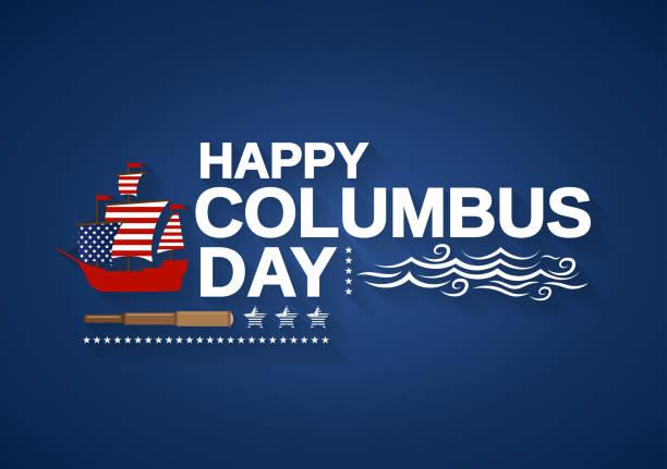 배, 망원경, 파도와 해피 콜럼버스 데가 배너. 벡터 일러스트입니다. - columbus day stock illustrations