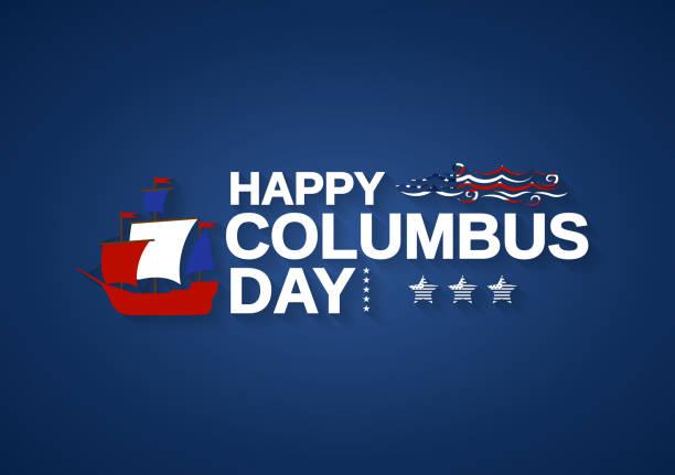 배, 망원경, 파도와 해피 콜럼버스의 날 파란색 배경. 벡터 일러스트입니다. - columbus day stock illustrations