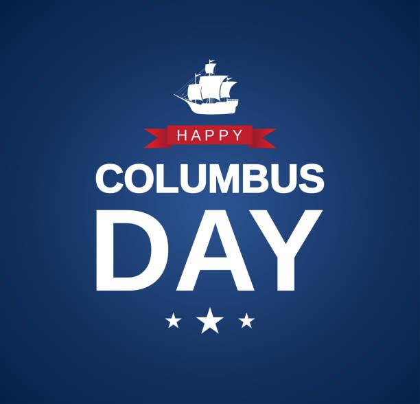 해피 콜럼버스 데이 카드, 파란색 배경에 배너. 벡터 - columbus day stock illustrations