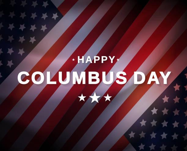 미국 국기와 해피 콜럼버스 의 날 카드. 벡터 - columbus day stock illustrations