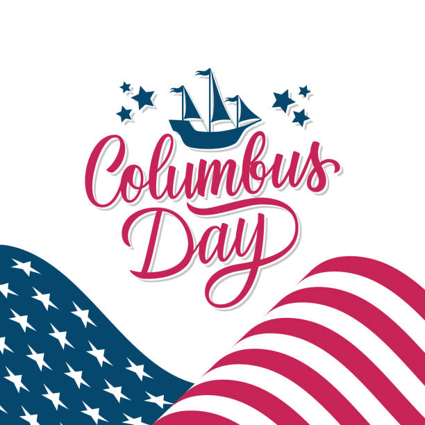Happy Columbus Day celebrate card with waving american national flag and hand lettering greetings. United States national holiday. vector art illustration
