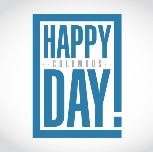 mutlu bayram günü ünlem kutusu iletisi - columbus day stock illustrations