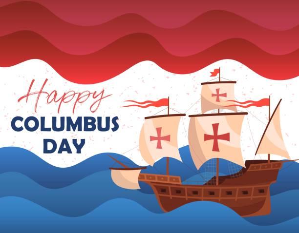 해피 콜럼버스의 날 인사말 카드 또는 역사적인 나무 스쿠너를 보여주는 포스터 디자인 - columbus day stock illustrations