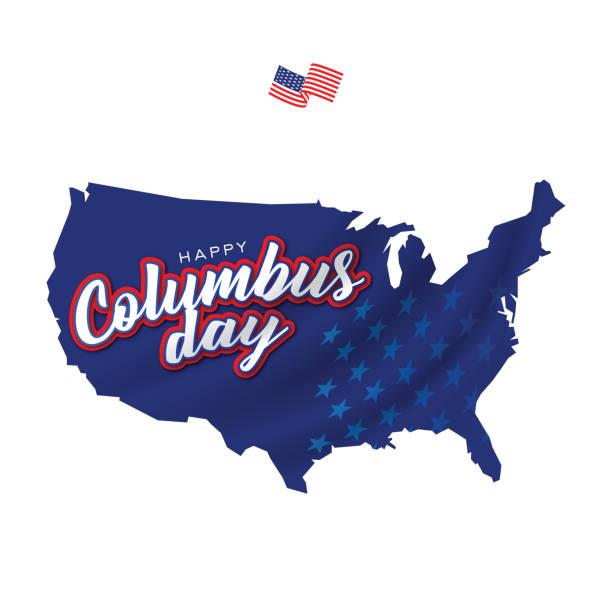 mutlu columbus günü tebrik kartı şablonu afiş arka plan stok illüstrasyon - columbus day stock illustrations