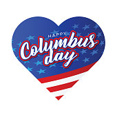 Happy Columbus Day greeting card template banner background stock illustration