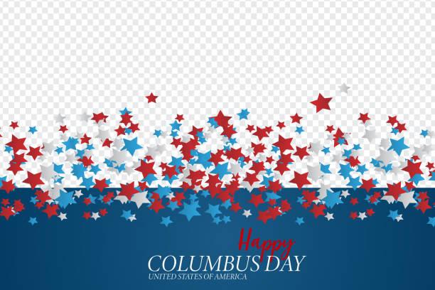 해피 콜럼버스의 날 인사말 카드입니다. 사용자 지정 이미지 및 별에 대한 공간이 있는 투명한 벡터 이미지입니다. - columbus day stock illustrations