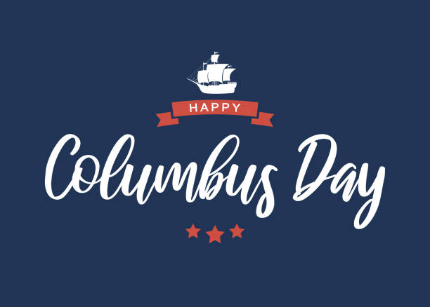 항해와 해피 콜럼버스 의 날 레터링 카드. 벡터 - columbus day stock illustrations