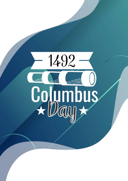happy columbus day lettering inscription logo sign - columbus day stock illustrations