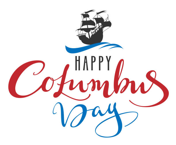 해피 콜럼버스 날입니다. 인사말 카드에 대 한 글자 텍스트입니다. 파도에 수레 범선 캐 러 벨 - columbus day stock illustrations