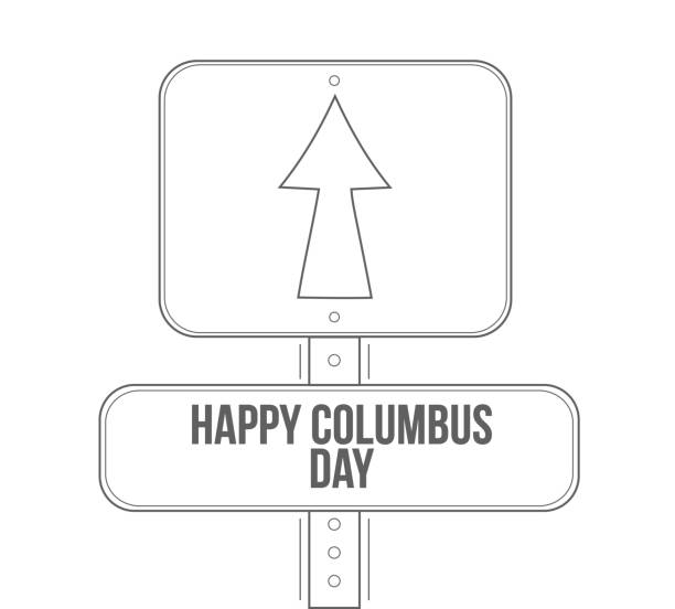mutlu bayram günü çizgi sokak tabelası - columbus day stock illustrations