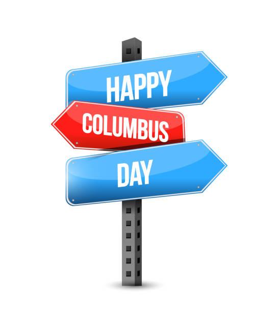 mutlu bayram günü birden çok hedef renk sokak tabelası - columbus day stock illustrations