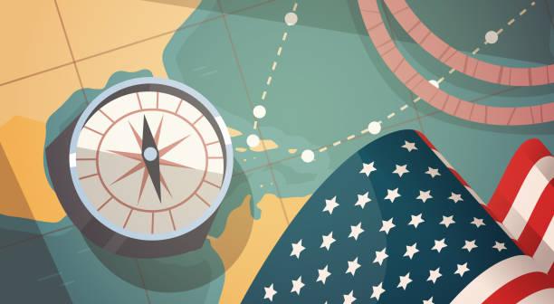 세계 지도 위에 나침반을 해피 콜럼버스의 날 국가 미국 휴일 인사말 카드 - columbus day stock illustrations