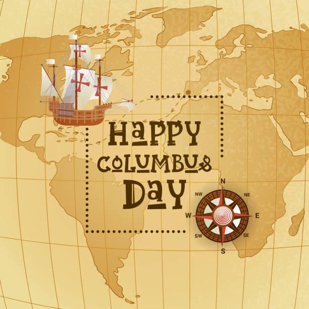 세계 지도 위에 배와 해피 콜럼버스의 날 국가 미국 휴일 인사말 카드 - columbus day stock illustrations