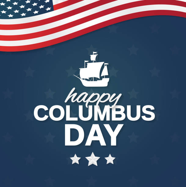 미국 국기와 배 해피 콜럼버스의 날 포스터. 벡터 일러스트입니다. - columbus day stock illustrations
