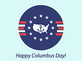 Happy Columbus Day quotes clipart image picture with abstract background of US flag