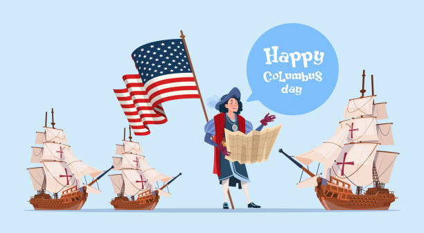 happy columbus day ship america discovery holiday poster greeting card - columbus day stock illustrations