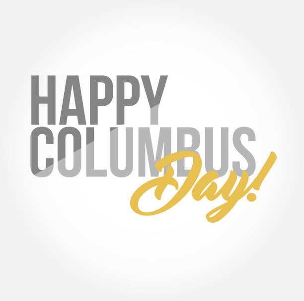 mutlu bayram günü şık tipografi kopyala ileti - columbus day stock illustrations
