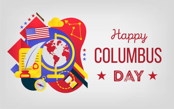 happy columbus day. - memorial day stock illustrations