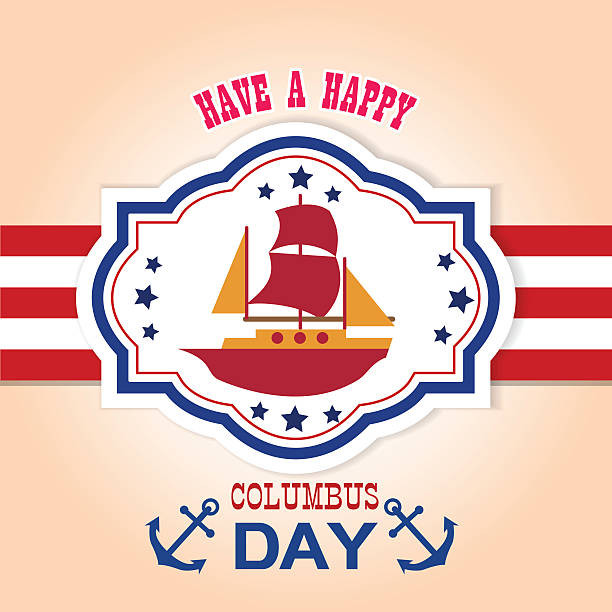 happy columbus day vector illustration - columbus day 幅插畫檔、美工圖案、卡通及圖標