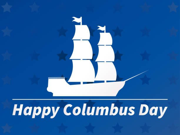 happy columbus day. white outline of a sailing ship against a blue background with stars. vector illustration - columbus day stock illustrations
