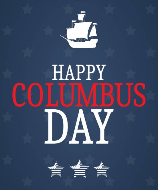 보트와 별과 해피 콜럼버스 하루입니다. 파란색 배경 - columbus day stock illustrations