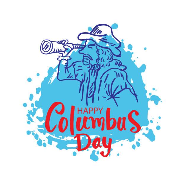 cartoon columbus ile mutlu columbus gün spyglass bakarak - columbus day stock illustrations