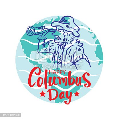 Happy columbus day with cartoon columbus looking at spyglass