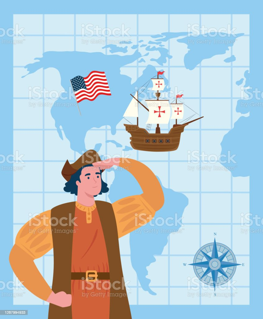 Picture of: Happy Columbus Day With Christopher Columbus Carabela Flag Usa Compass And World Map Stock Illustration Download Image Now Istock