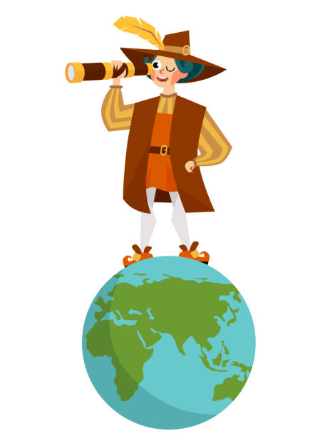 happy columbus day with columb looking at spyglass - columbus day stock illustrations