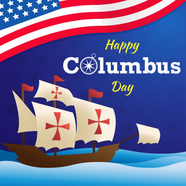 abd bayrak vektör arka plan veya afiş grafik ile mutlu columbus gün - columbus day stock illustrations