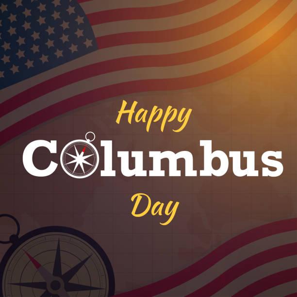 harita arka plan veya afiş grafik abd bayrak vektörü ile mutlu columbus gün - columbus day stock illustrations