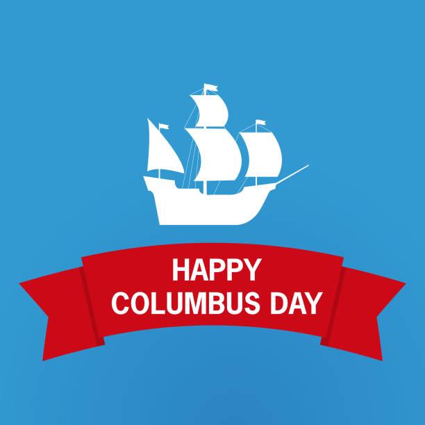 happy columbus day.sailing ship.national usa holiday gift card. vector flat lettering. - columbus day stock illustrations