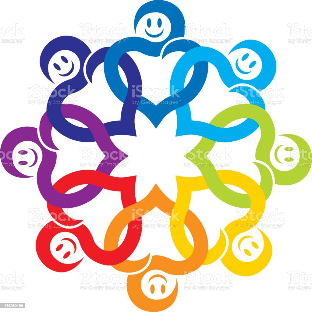 Happy Community Cirle vector art illustration