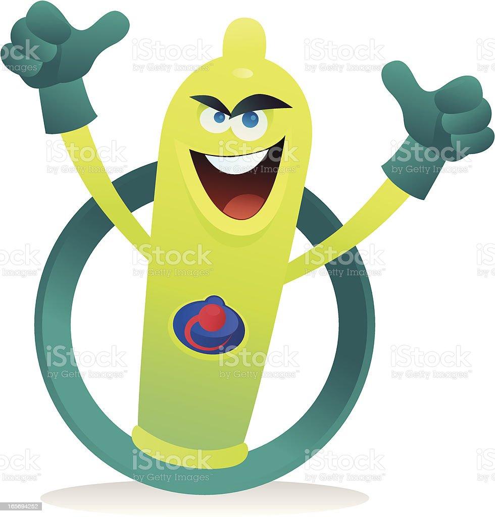 happy condom symbol vector art illustration