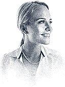 """Etching illustration of confident, happy businesswoman."""