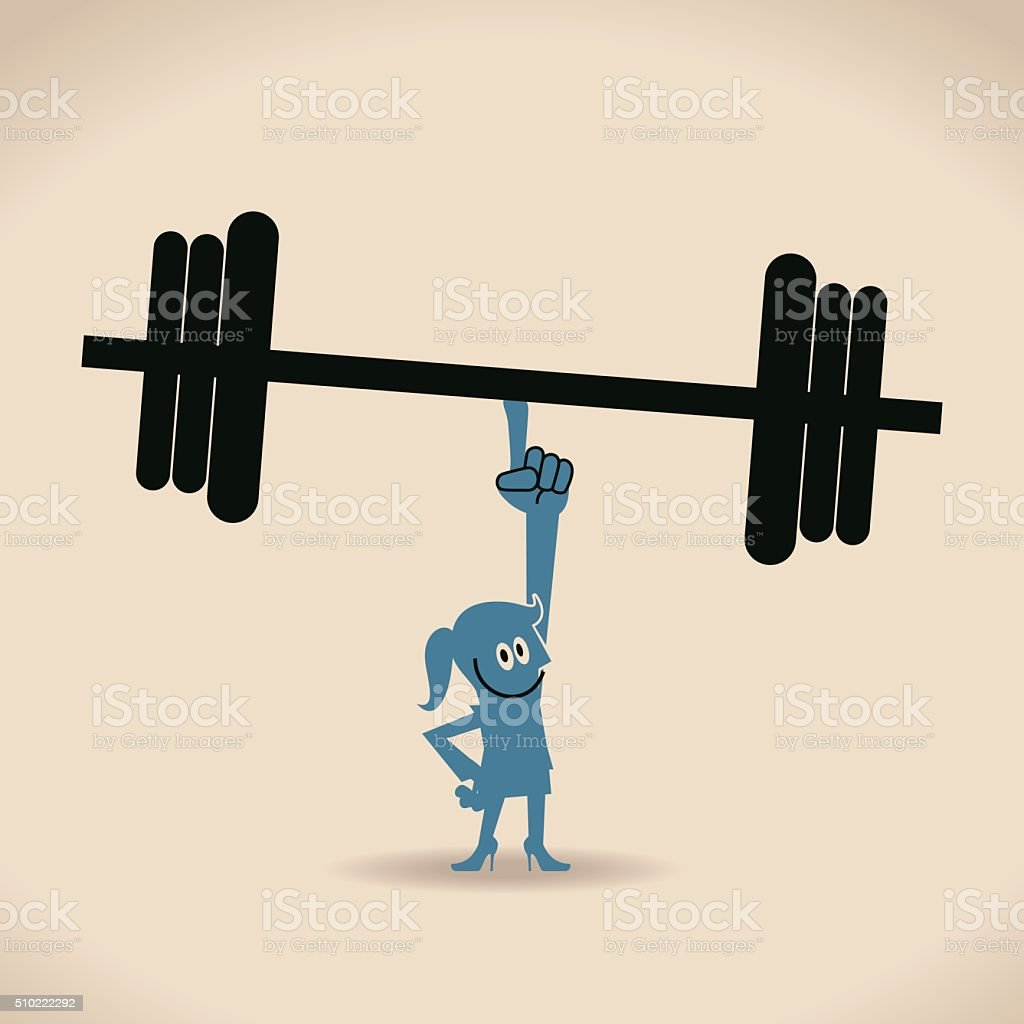 Happy confident businesswoman weightlifting by index finger vector art illustration