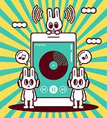 istock Happy cool rabbit wearing headset listening to music on smartphone 1303638042
