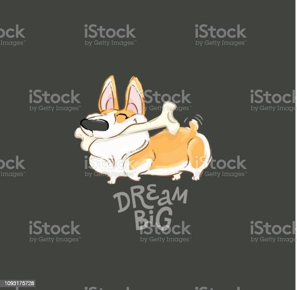 Happy corgi dog play bone vector poster funny little puppy animal vector id1093175728?b=1&k=6&m=1093175728&s=612x612&h=qmphmsessvzmfgbvz z9pq gclkccjeqhfnvlhhhriu=