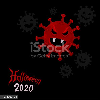 istock Happy Coronavirus Halloween. Covid-19 Zombie Monster. 1278093104