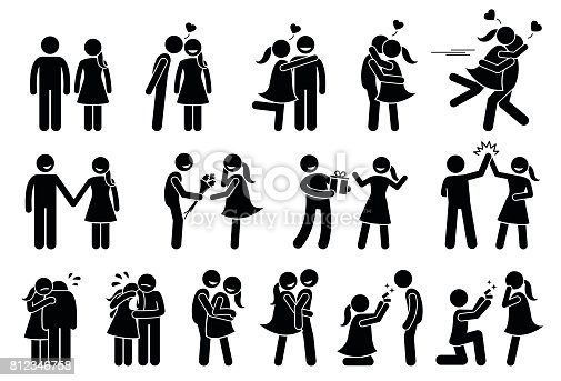 Boyfriend and girlfriend love each others. Stick figures depict a couple kissing, holding hand, giving gifts, high five, consoling, hugging, cuddle, and marriage proposal.